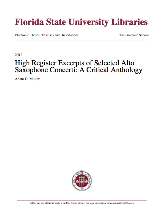 High Register Excerpts of Selected Alto Saxophone Concerti A Critical Anthology