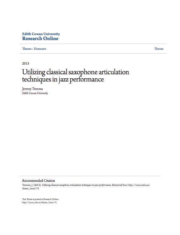 Utilizing classical saxophone articulation techniques in jazz per