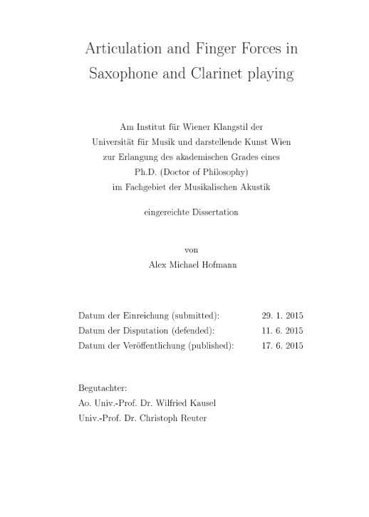2015 Articulation and Finger Forces in Saxophone and Clarinet playing phd thesis