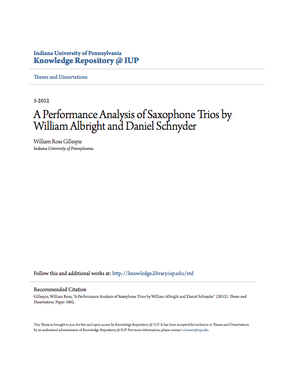 A Performance Analysis of Saxophone Trios by William Albright and