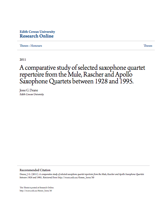 A comparative study of selected saxophone quartet repertoire from
