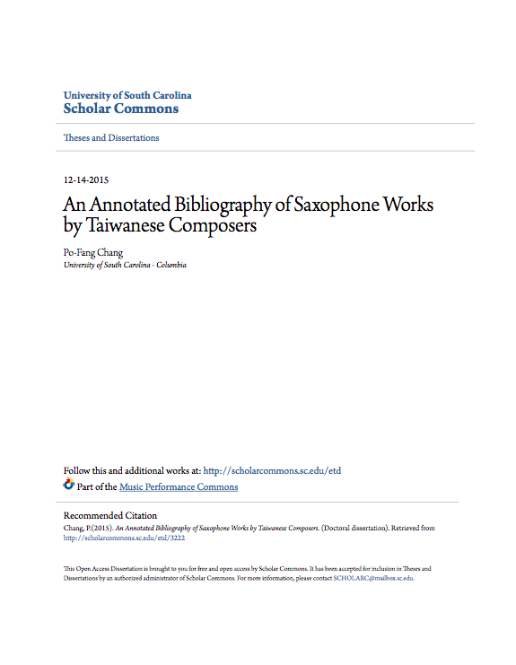An Annotated Bibliography of Saxophone Works by Taiwanese Compose