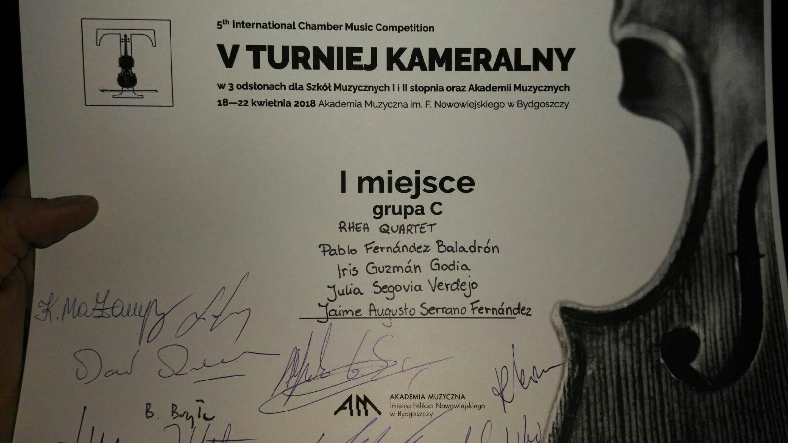 Cuarteto Rhea GANADOR del Primer Premio en el 5th Internacional Chamber Music Competition organizado por la Akademia Muzyczna de Bydgoszcz Polonia2