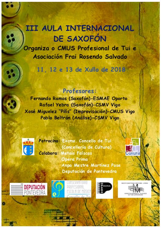 III Aula Internacional de Saxofon TUI 2018 AIS TUI 2018