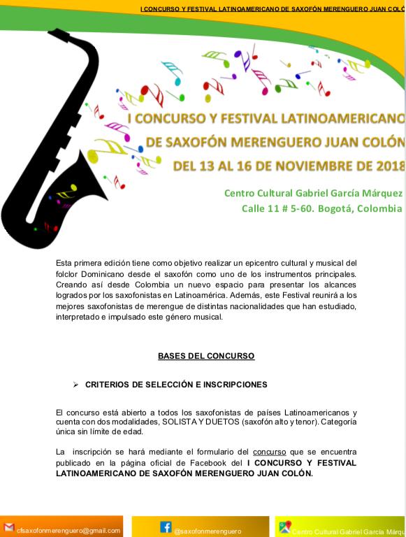 BASES DEL I CONCURSO Y FESTIVAL LATINOAMERICANO DE SAXOFONMERENGUERO JUAN COLON