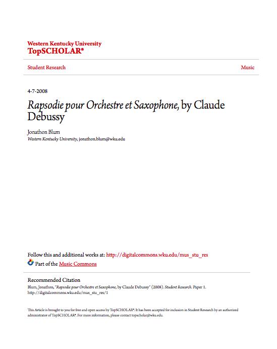 i Rapsodie pour Orchestre et Saxophone i by Claude Debussy