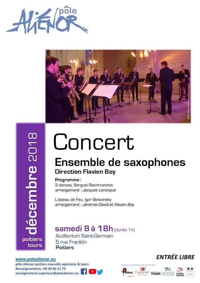 Adolphesax.com Ensmeble Saxophones Poitiers DEcember 2018