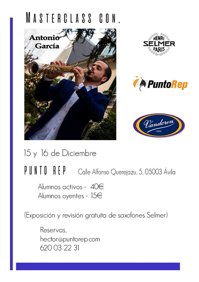 Adolphesax.com MAster class Antonio GArcia Jorge Diciembre 2018