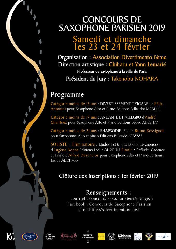 February 2019 Concours Parisien de Saxophone