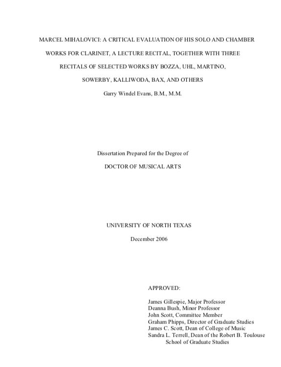 Mihalovici dissertation