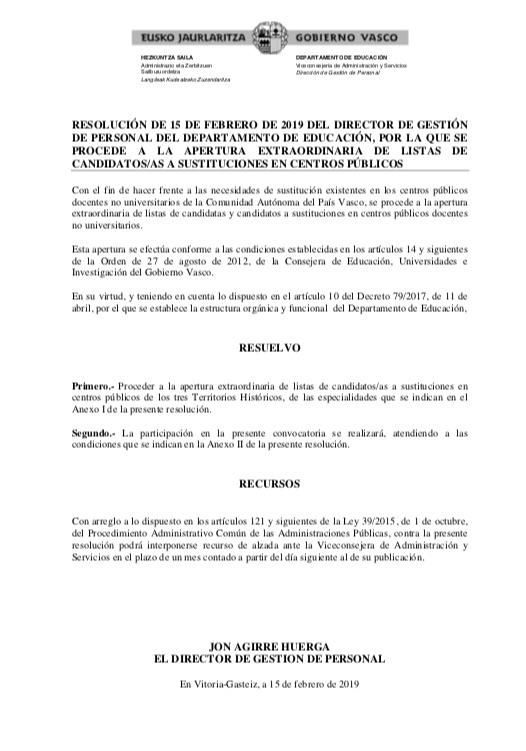 Adolphesax.com 20190219 bolsa educacion pais vasco