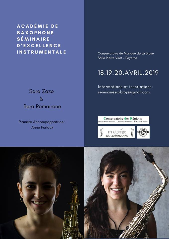 Adolphesax.com Aademie de Saxophone SAra Zazo Bera Romairone April 2019