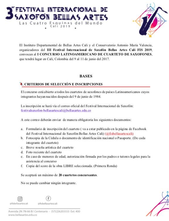 Adolphesax.com BASES CONCURSO LATINOAMERICANO CALI FIS3 Junio 2019