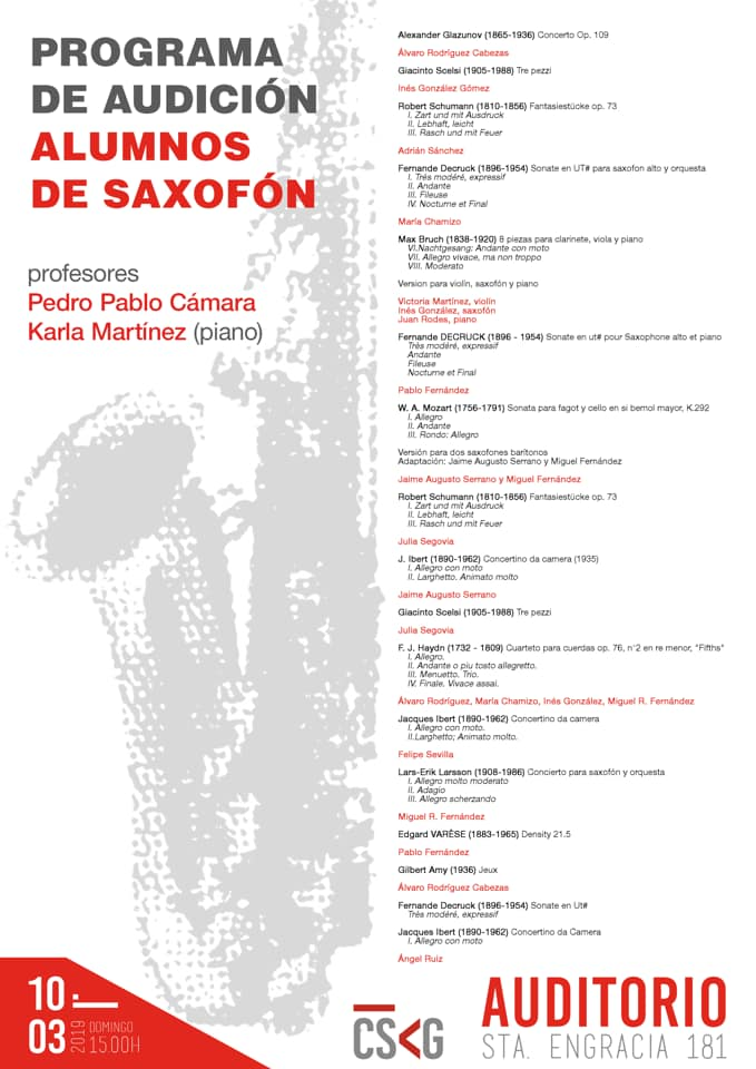 Adolphesax.com Marzo 2019 Alumnos Pedro Pablo Camara
