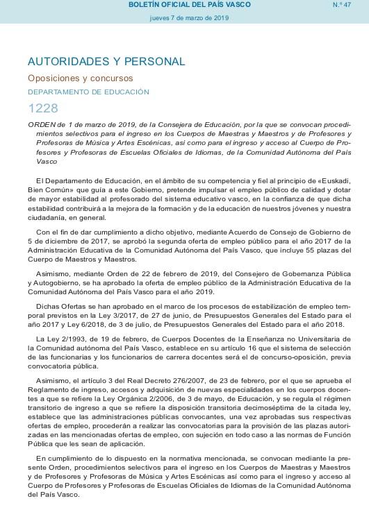 Oposiciones Pais Vasco 2019