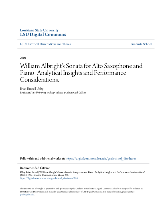 William Albrights Sonata for Alto Saxophone and Piano Analytica