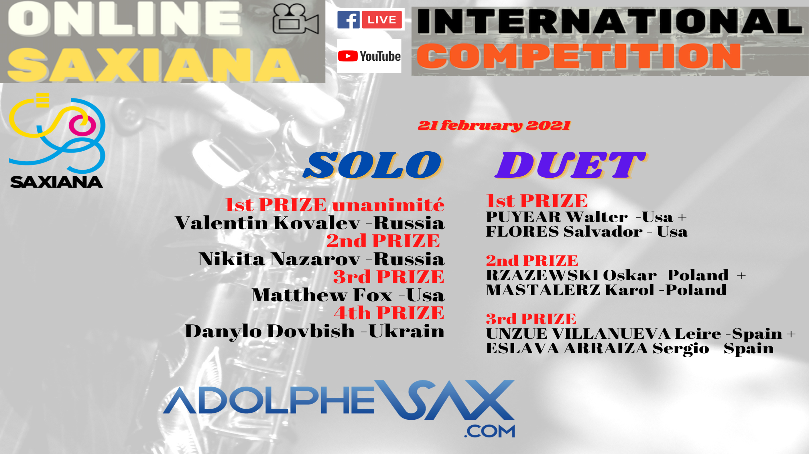 WINNERS PROCLAMATION: Saxiana-Adolphesax.com Online Competition 2021 (VIDEO)
