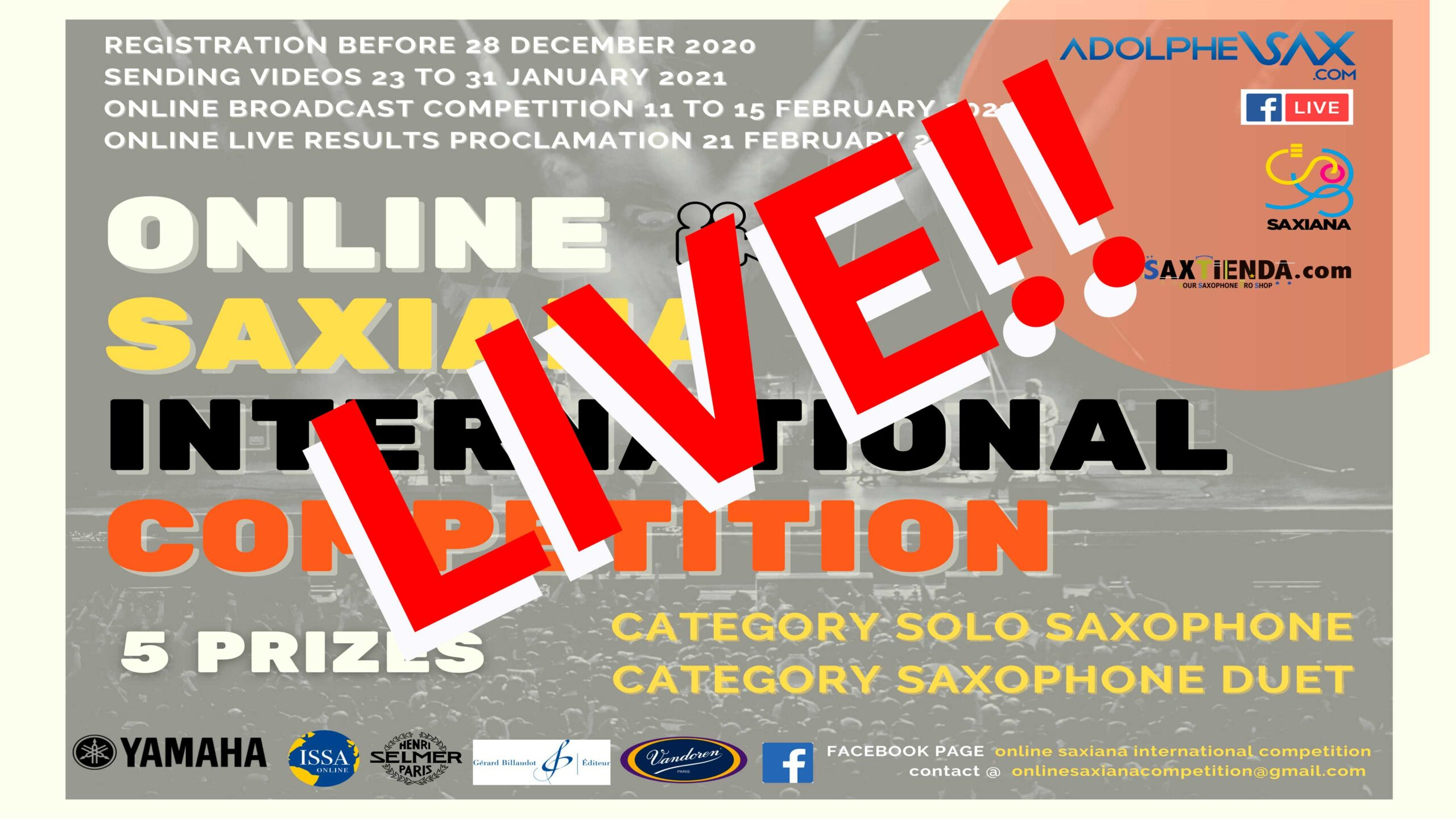 LIVE NOW: SAXIANA-ADOLPHESAX ONLINE SOLO COMPETITION